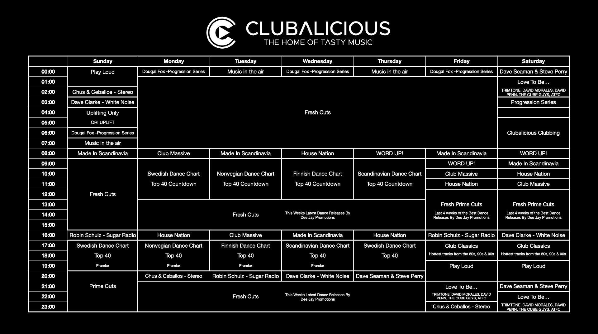 Clubalicious Schedule November 2020